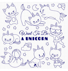 Cute cats like unicorn set cartoon kittens vector