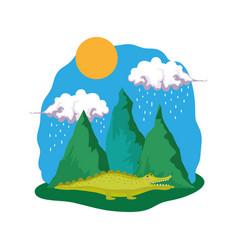 cute crocodile in the landscape vector image