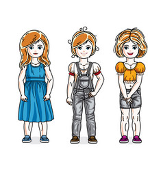 cute little girls standing wearing fashionable vector image
