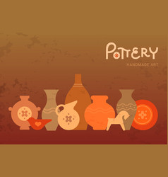 Different pottery vases in horizontal view vector