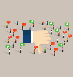 Dislike thumbs down social media crowd people vector