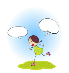 doodle girl with speech balloon vector image