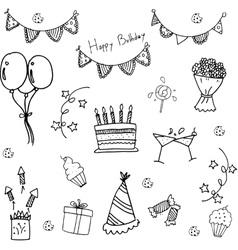 Doodle of birthday party hand draw vector