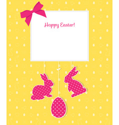 Easter card with egg rabbits and seamless pattern vector
