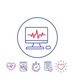 ecg procedure heart diagnostic icons vector image