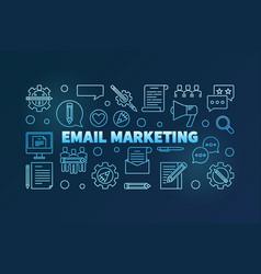 Email marketing blue thin line horizontal vector