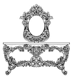 Exquisite baroque dressing table engraved vector