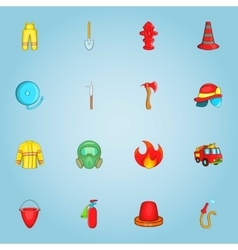 Fire service icons set cartoon style vector