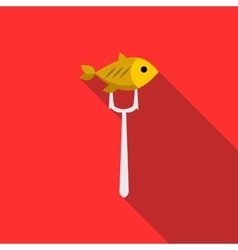 Fish on fork icon flat style vector image