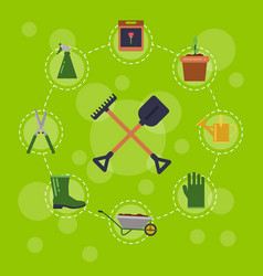 flat gardening icons infographic vector image