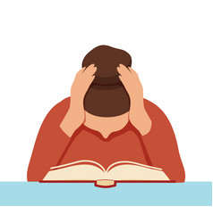 Focused female student reading book covering ears vector