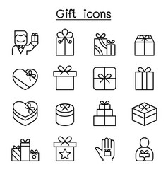 gift box icon set in thin line style vector image