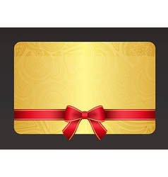 Gold gift card with red ribbon and vintage floral vector image vector image