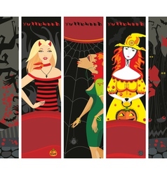 Halloween Banner Girl Witch Set Vertical vector image vector image