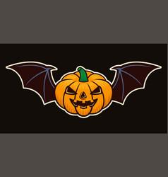 halloween pumpkin with bat wings object vector image
