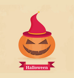 halloween pumpkin with witch hat flat style icon vector image