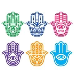Hamsa hand hand fatima - amulet protection vector