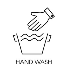 Hand wash line icon delicate clothes linear vector