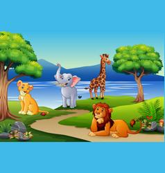 happy animals cartoon on the nature scene vector image