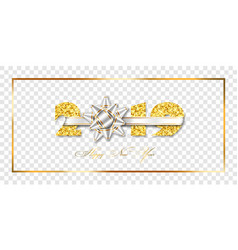 happy new year card 3d gift silver ribbon bow vector image