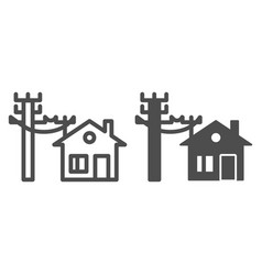 House electrification line and glyph icon vector