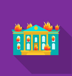 house on fire icon flat single silhouette fire vector image