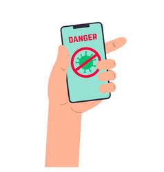 human hand with smartphone coronavirus danger vector image