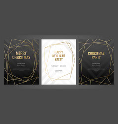 Invitation template gold lines on a black vector