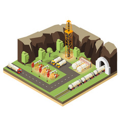 Isometric oil extraction concept vector