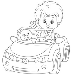 little boy in a toy car vector image vector image