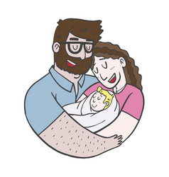 lovely beautiful couple holding bain their arms vector image
