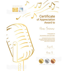 Luxury certificate template for singing song or vector