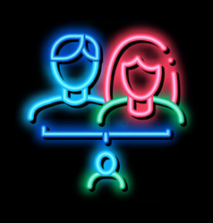 Man and woman with baby neon glow icon vector