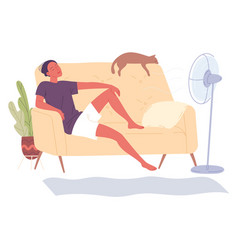 Man sits at home on couch fan vector