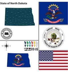 Map of North Dakota with seal vector image