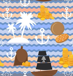 Marine background Palms anchor steering wheel vector image