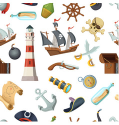 marine seamless pattern with different pirates vector image