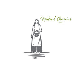 medieval woman dress costume ancient concept vector image