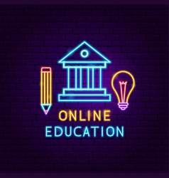 online education neon label vector image