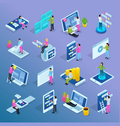 people interfaces isometric set vector image