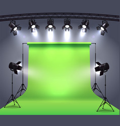 Photo studio spotlights composition vector
