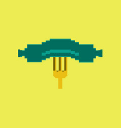 pixel icon in flat style sausage on fork vector image