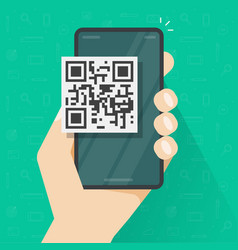 qr code icon on mobile phone or smartphone screen vector image