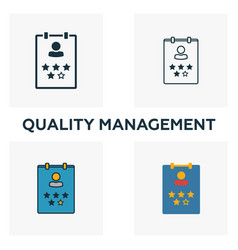 quality management icon set four elements in vector image
