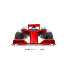 racing sport car with driver linear vector image
