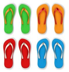 Realistic flip flop set vector image