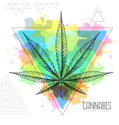 Realistic hand drawing cannabis leaf silhouette vector