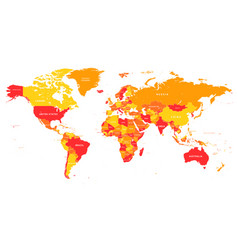 red-yellow map world vector image