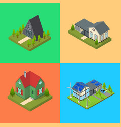 residential building card set isometric view vector image