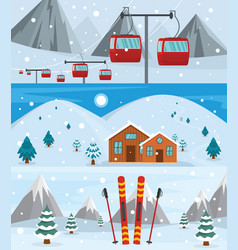 resort hotel winter banner concept set flat style vector image